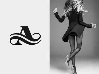 A  logo mark icon monogram letter a typography fashion flow