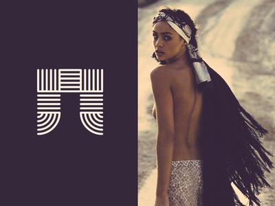 . logo mark icon stripes lined letter monogram bohemian fashion