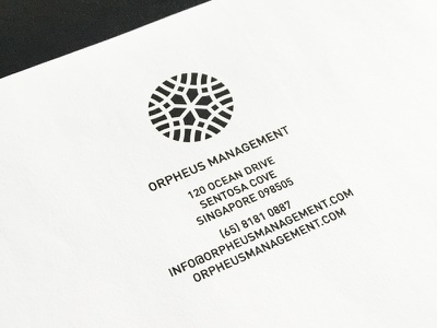 Orpheus Management pt.III stationary letterhead o circle emblem graphic mark logo
