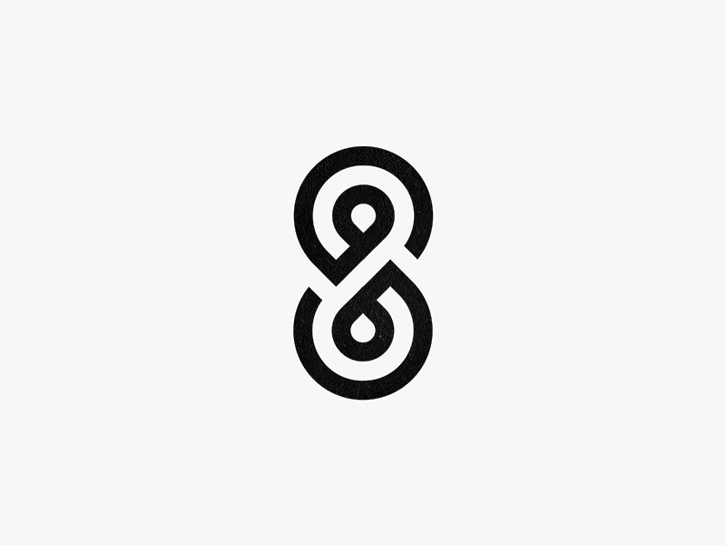 S + 8 monoline number letter 8 s circles monogram icon mark logo