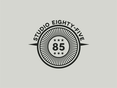 STUDIO85 #3 logo design emblem stamp round circle vintage retro urban number 85 8 5 studio star