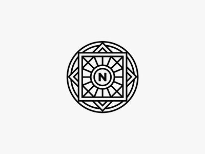 N. badge lockup emblem fashion jewellery mono line identity branding mark symbol logo