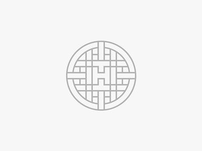 H-badge. monoline lockup badge emblem geometric h monogram icon mark logo