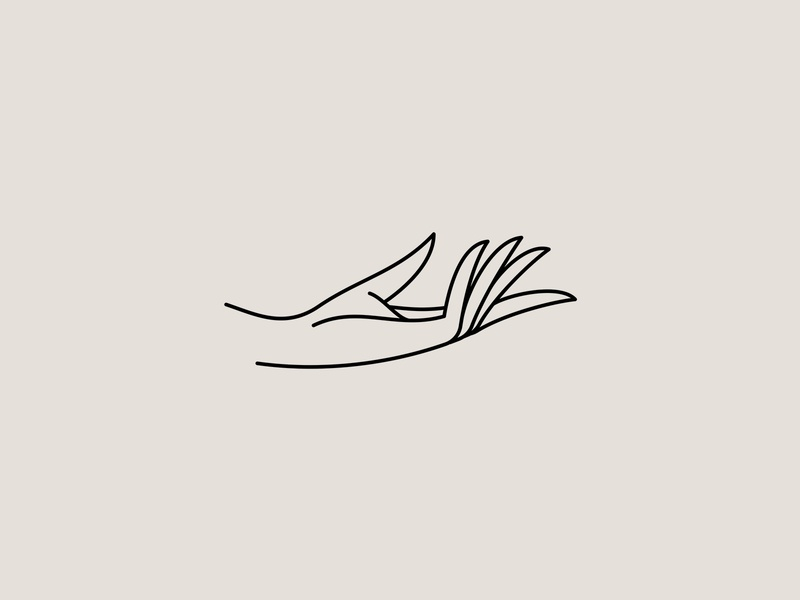 . give hand monoline illustration branding identity design icon mark logo