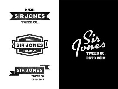 Sir Jones. logo design retro vintage script emblem badge black white