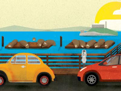 The Wharf san francisco wharf sea lions cars illustration advertisement