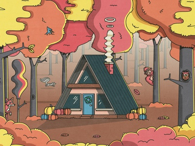 Fall a frame house leaves forrest nature skunk owl fox trees fall