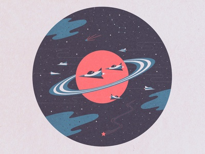 Space Exploration texture illustration san francisco pool comet big dipper stars planet shuttles ships space