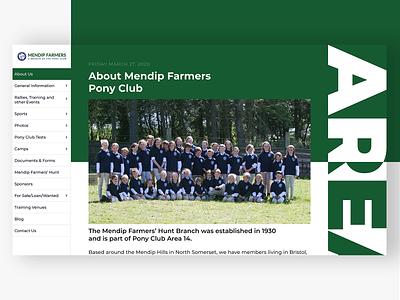 Mendip Farmers Pony Club Redesign pony club website design uidesign figma web design webdesign web
