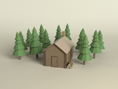 Log Cabin woodland nature cabin low-poly lowpoly maya 3d