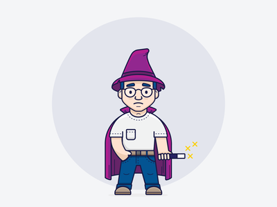 Ozzy // Sad development icon illustrator ui inspiration graphic design design inspiration design concept clean art wizard vector minimal illustration flat coding branding brand character