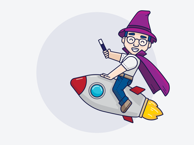 Ozzy // Rocket icon illustrator ui inspiration graphic design design inspiration design concept clean art rocket wizard vector minimal illustration flat coding branding brand character