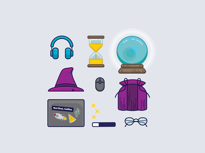 Ozzy's Stuff development icon illustrator inspiration graphic design design inspiration design concept clean art wizard vector ui minimal illustration flat coding branding brand character