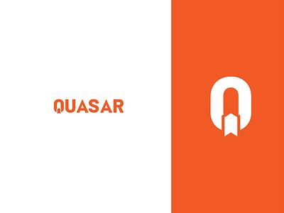 Quasar typography icon vector branding flat logo dailylogochallenge rocket