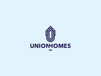 Union Homes Realtors clean typography realestate realtors flat minimal icon brand branding vector design logotype illustration logo