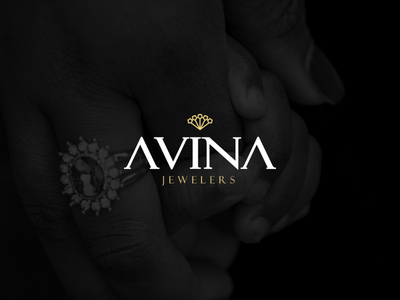 Avina Jewelers logomark crown peacock illustrator wordmark logo avina brand luxury jewelers jewelery jewels