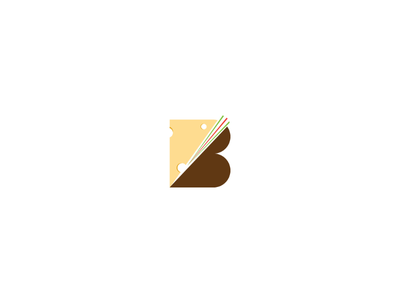 B for cheese cook minimal flat app icon ux branding vector ui logo design illustration burger cheese food
