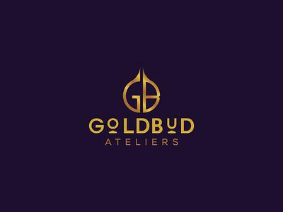 Goldbud Ateliers illustrator icon branding minimalism typography wordmark ateliers bud gold luxury brand logo fashion
