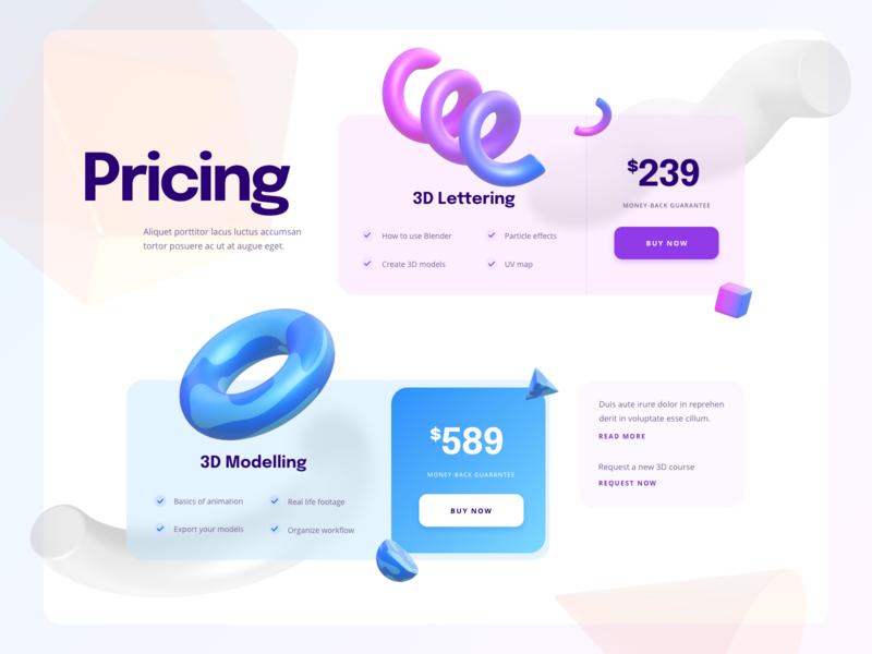 Pricing Section - Web Design courses pricing 3d design web ux ui