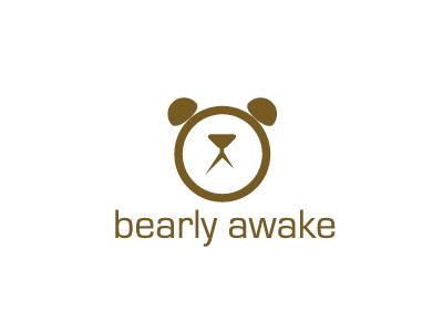 Bearly Awake bear logo awake brown alarm clock