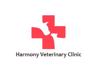 Harmony Veterinary Clinic veterinary harmony clinic dog cat cross logo