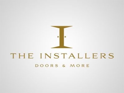 The Installers: Doors and More installers install door logo minimal negative space white