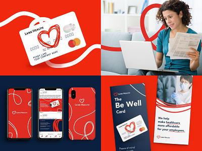 Branding Design elements for Lane Health oneline telemedicine identity medical red online one line illustration graphic design branding medical service healthcare