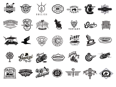 Logos By David Cran car race car pictogram icon motorcycle plane tree crown nuts wine pizza espresso cookies bar beer soda pickles coffee cafe badges logos vintage retro branding typography