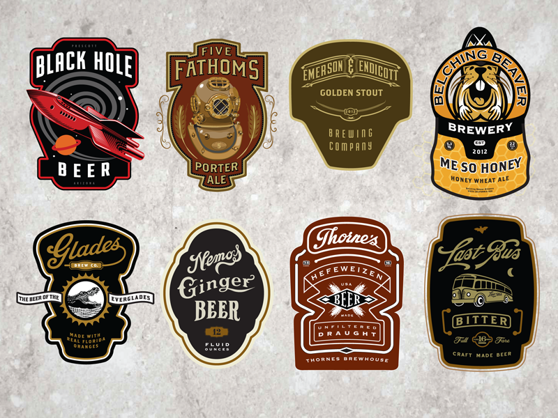 Cran  Beer Labels hops bakery cafe badges coffee beer bottle label brewery vintage retro logo