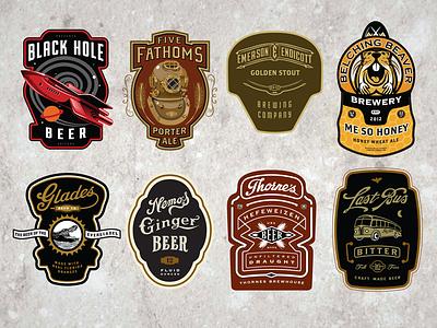 Cran  Beer Labels hops bakery cafe badges coffee beer bottle label brewery vintage retro logo