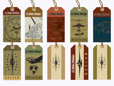 Lehome Vintage Tags aviation dc3 hangtags tags labels furniture russian