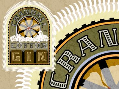 Crandall Cotton Gin restaurant logo identity brand vintage retro