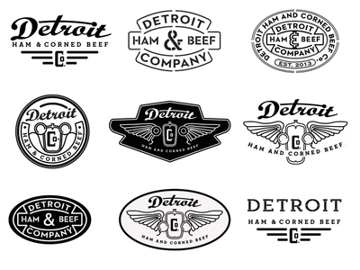 Detroit Ham And Corned Beef Co Logos badges detroit ham corned beef logo vintage retro wings car