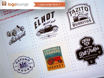 Logo Lounge Book 9 typograhy lettering published publish logo badge badges vintage logo lounge tractor car pickles
