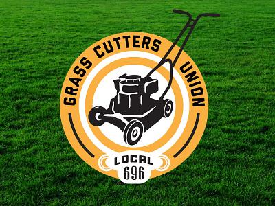 Grass Cutters Union union logo badge lawnmower grass summer job lawncare landscaping