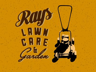 Rays Lawn Care   Garden shadow script retro vintage antique mower lawn care