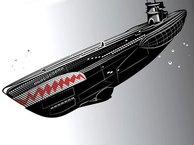 Submarine etching engraving navy ww2 marine under water u-boat boat submarine