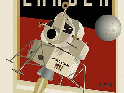 Lunar Lander apollo 11 lem lunar lander nasa space moon illustration vintage retro