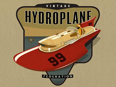 Vintage Hydroplane Federation hydroplane boat logo illustration racing vintage retro