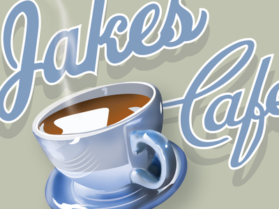 Jakes Cafe 4 tea vintage script restaurant cafe steam cup coffee