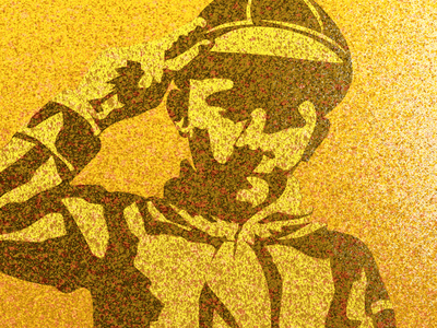 Good Boy Scout 9 vintage salute scout cubs boy pointalism splatter air brush