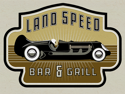 Land Speed Bar   Grill logo car land speed record bar and grill illustration vintage retro restaurant