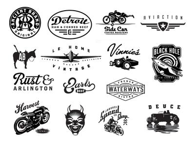 Assorted Logos By David Cran 37d devil. donkey aircraft 32 ford motorcycle car vintage