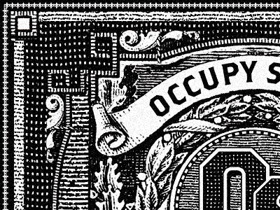 occupy supply etching. occupy logo etching vintage look