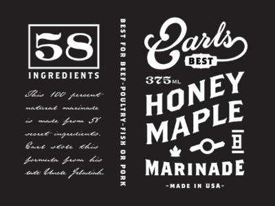 Earls label honey maple marinade bbq sauce ingredients panel type typography vintage retro