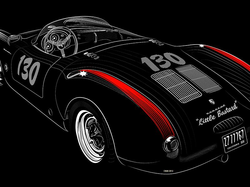 Little Bastard  Dean Porsche james dean porsche crash illustrations line art 550 death. machine car automobile
