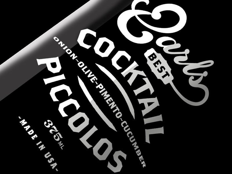 Earls Best Cocktail Piccolos earls cocktail label packaging bottle pickles retro vintage old style cool