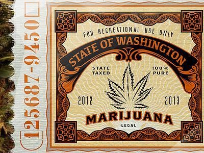Legal Marijuana weed mary jane cafe bar beer colorado marijuana stamp tax leaf washington logo retro vintage packaging