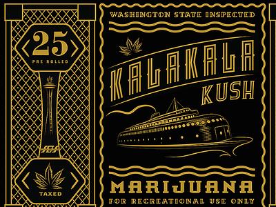 Kalakala Kush Label kalakala kush marijuana label packaging illustration line art
