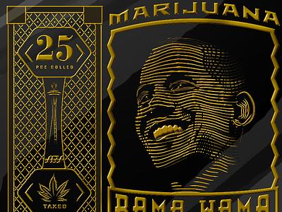 Bama Wama Sm barrack obama marijuana legalization illustration engraving packaging washington space needle